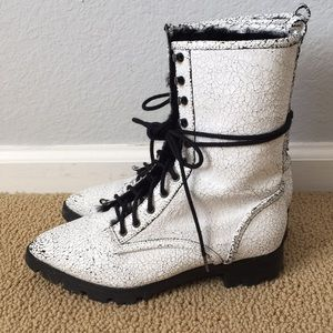 Luxury Rebel White Crackled Combat Boots